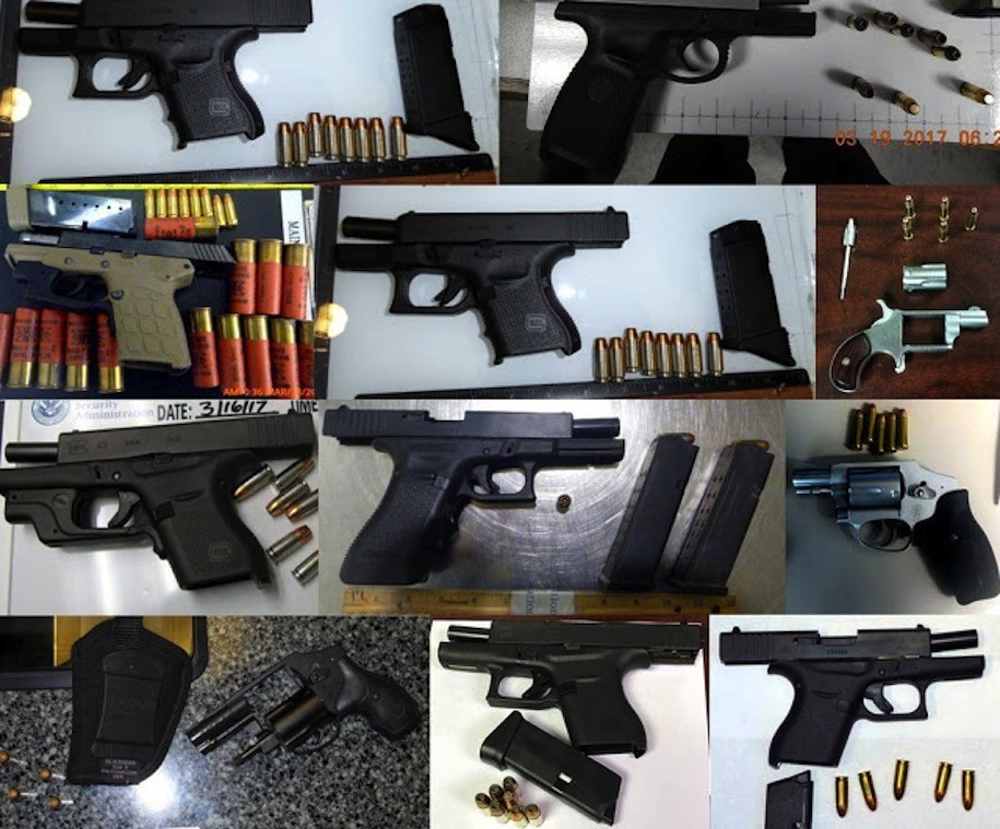 Eleven of 81 guns discovered in carry-on luggage by TSA agents at airports across the country, during the week of March 13-19, 2017.