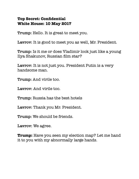 Satirical transcript of Trump and Lavrov