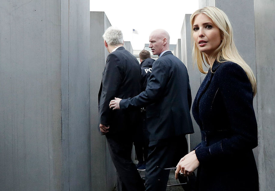 First Daughter and Advisor to the US President Ivanka Trump (R) visits the Holocaust memorial  during her visit on April 25, 2017 in Berlin. / AFP PHOTO / POOL / Michael Sohn        (Photo credit should read MICHAEL SOHN/AFP/Getty Images)