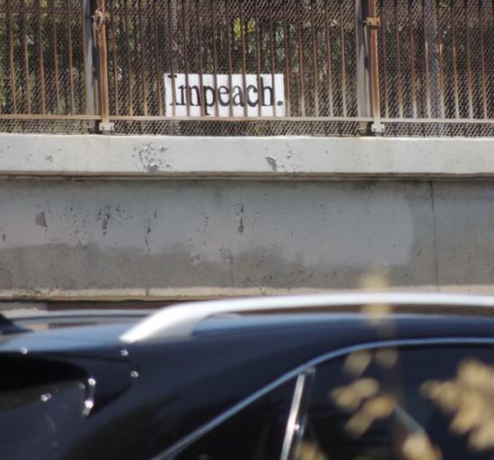 Impeach sign over Hollywood Fwy.