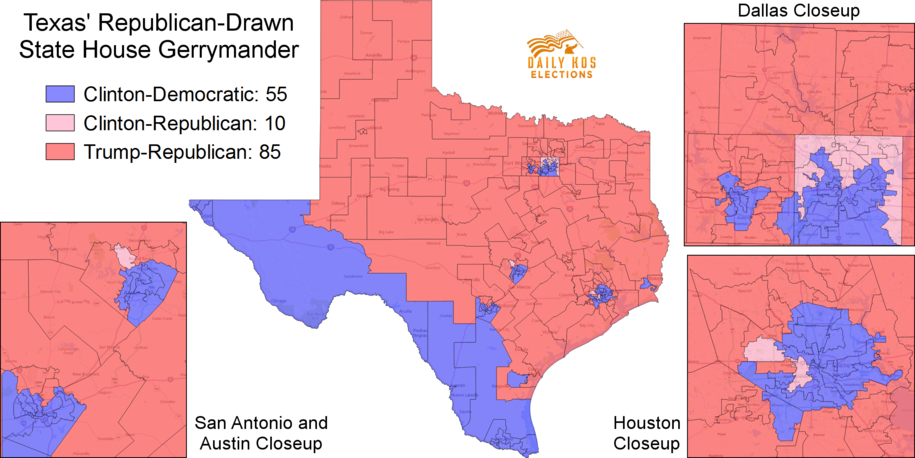 Republican Democratic State Map.Clinton Won Several Conservative Districts In The Texas Suburbs But