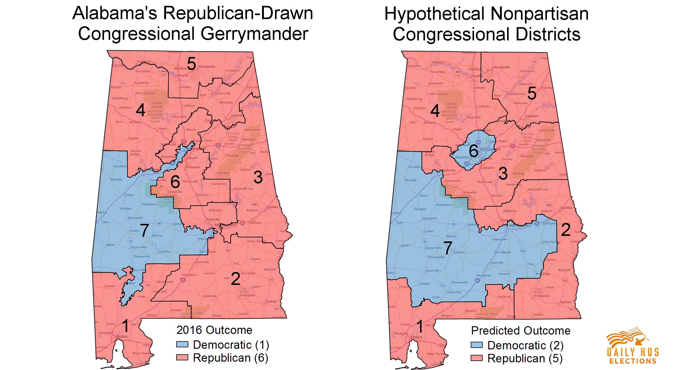 Heres What Alabama Might Have Looked Like In Without GOP - Political map of alabama