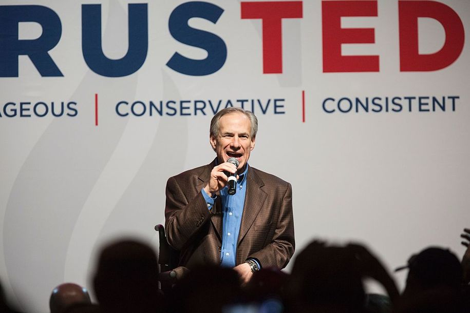 """Greg Abbott, governor of Texas, speaks at a presidential campaign rally for Repulican presidential hopeful Ted Cruz in Dallas, Texas on February 29, 2016 one day before the """"Super Tuesday"""" primaries..Americans in a dozen states head to the polls for a slew of primaries and caucuses March 1 on what is considered the most important day of the presidential nominations calendar. / AFP / Laura Buckman        (Photo credit should read LAURA BUCKMAN/AFP/Getty Images)"""