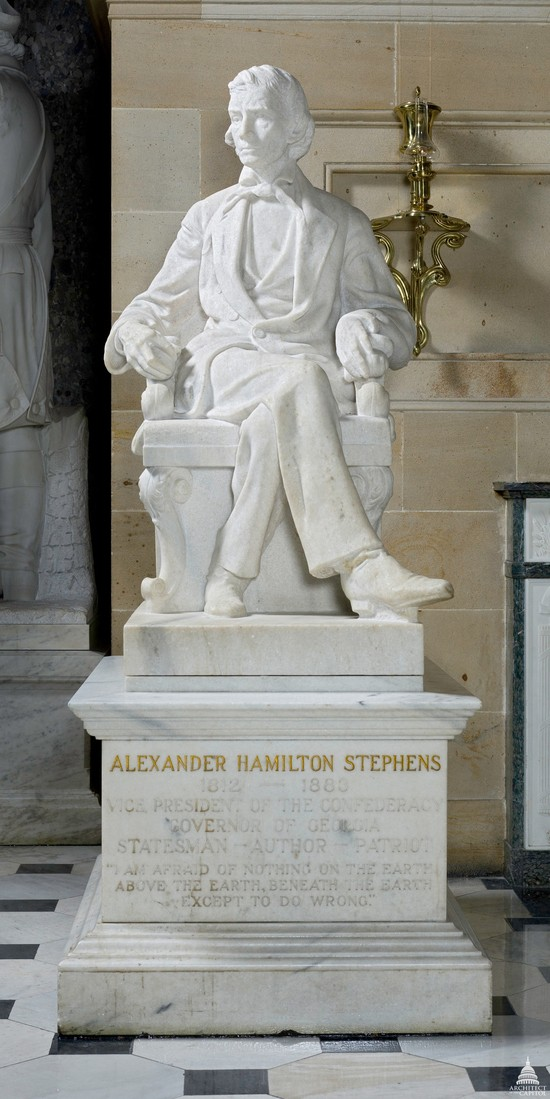 Confederate President Alexander Stephens, looking all benign in his perch of honor in the Capitol's National Statuary Hall