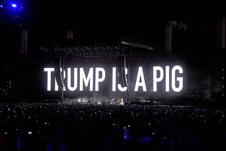 INDIO, CA - OCTOBER 16:  An illustration of Donald Trump appears on the screen during Roger Waters performance during Desert Trip at the Empire Polo Field on October 16, 2016 in Indio, California.  (Photo by Frazer Harrison/Getty Images)