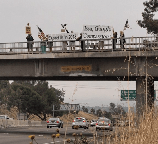 San Diego Overpass protest against Darrell Issa.
