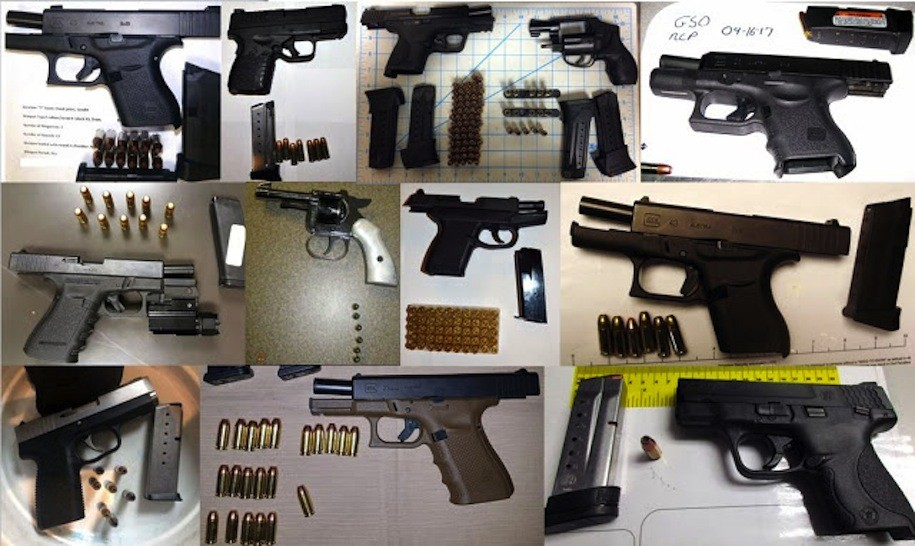 Twelve of 133 guns found in carry-on luggage by TSA agents at airports throughout the country, during the two-week period from April 3-16, 2017.