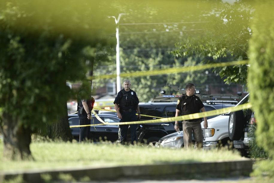 Police tape cordons off the scene of an early morning shooting in Alexandria, Virginia, June 14, 2017..Senior Republican Congressman Steve Scalise was among several victims shot and wounded at a baseball practice ahead of an annual game between lawmakers.Scalise was reportedly shot in the hip. Scalise is the majority whip who rallies Republican votes in the House of Representatives. / AFP PHOTO / Brendan Smialowski        (Photo credit should read BRENDAN SMIALOWSKI/AFP/Getty Images)