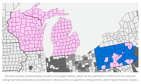 Map of counties in MI, WI, and PA that forego paper ballots entirely. While WI and MI have none, PA counties are predominantly paperless.