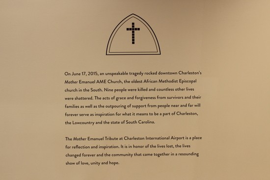 Mother Emanuel display at Charleston, SC airport