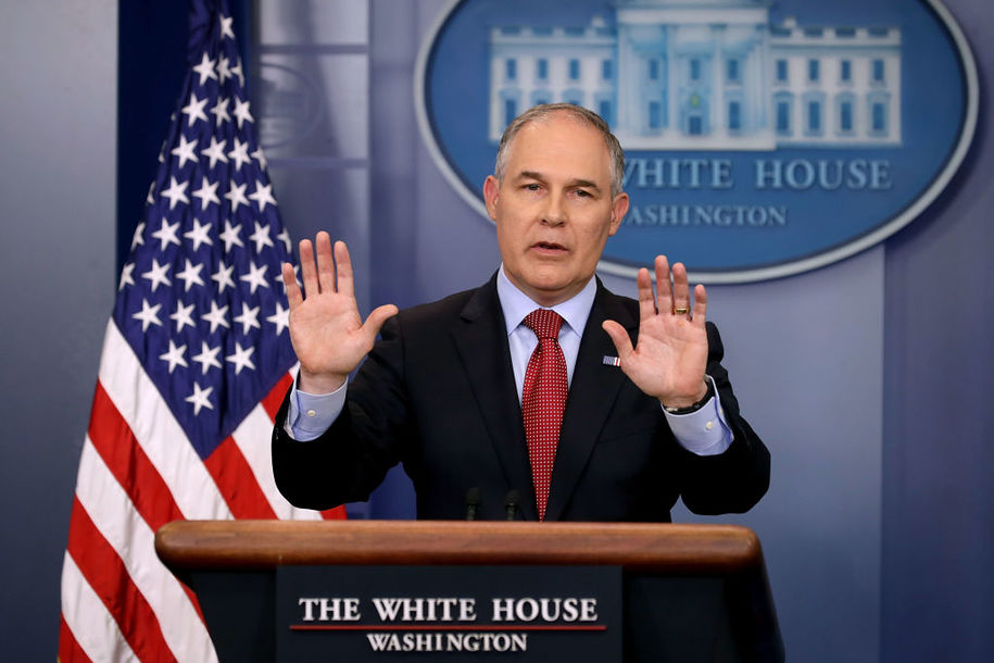 WASHINGTON, DC - JUNE 02:  Environmental Protection Agency Administrator Scott Pruitt answers reporters' questions during a briefing at the White House June 2, 2017 in Washington, DC. Pruitt faced a barrage of questions related to President Donald Trump's decision to withdraw the United States from the Paris climate agreement.  (Photo by Chip Somodevilla/Getty Images)