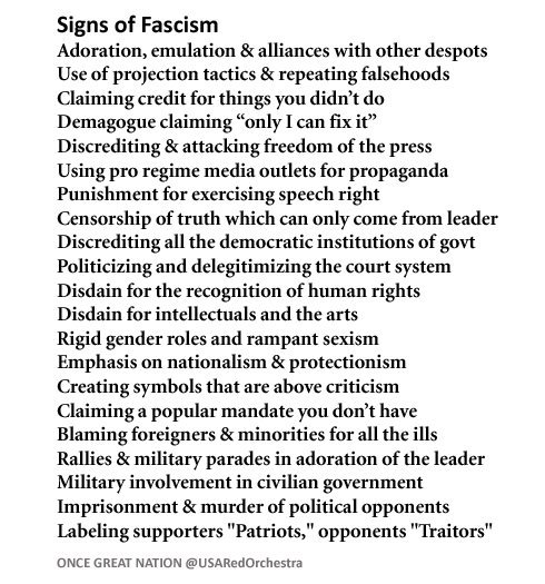 Early Signs Of Fascism >> Signs Of Fascism Trump Checking Off The List