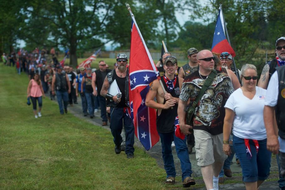 GETTYSBURG, PA - JULY 1:  Activists with Confederate flags gather at the Gettysburg National Military Park on July 1, 2017 in Gettysburg, Pennsylvania.  The U.S. park service issued protest permits for three groups, including Sons of Confederate Veterans, and Real 3% Risen, on the 154th anniversary of the battle.  (Photo by Mark Makela/Getty Images)