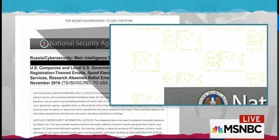 Printer dots left on a a top secret NSA document