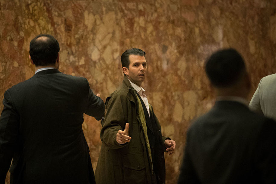 NEW YORK, NY - NOVEMBER 16: Donald Trump Jr. (C) gestures to Trump campaign senior advisor Boris Epshteyn (L) in the lobby at Trump Tower, November 16, 2016 in New York City. Trump is in the process of choosing his presidential cabinet as he transitions from a candidate to the president-elect. (Photo by Drew Angerer/Getty Images)