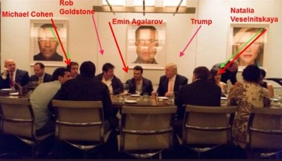 Photos from the Las Vegas Trump Hotel where Emin Agalarov (center of both images) met with Donald Trump. Agalarov's manager Rob Goldstone is highlighted with a red arrow, to his left is Trump's personal lawyer Michael D. Cohen. (2013) The fifth person identified as Natalia Veselnitskaya has yet to be verified