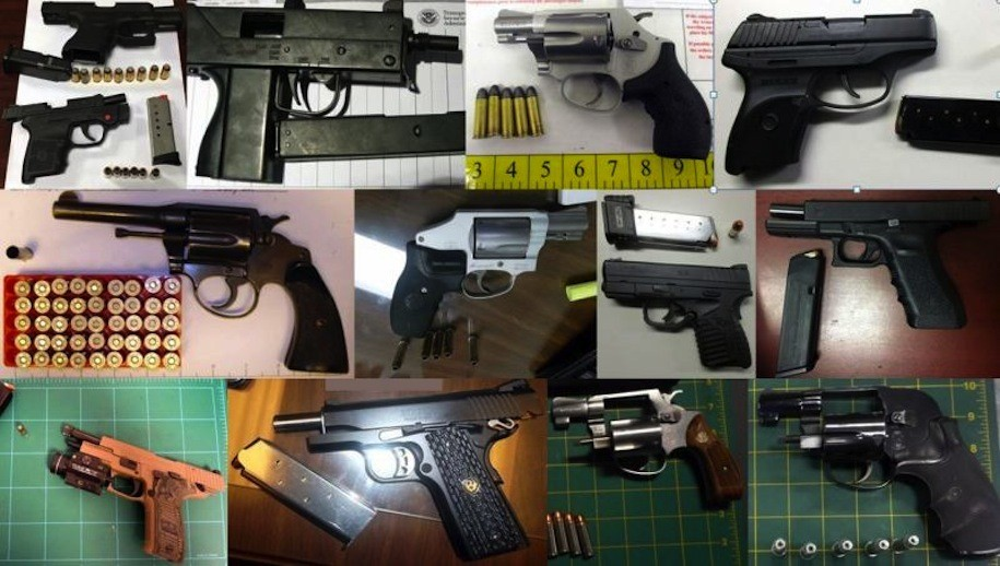 Thirteen of the 61 guns discovered in carry-on bags by TSA agents at airports across the country, during the week of May 1-7, 2017.