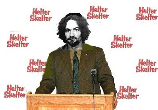 Charles Manson giving a Press Conference.