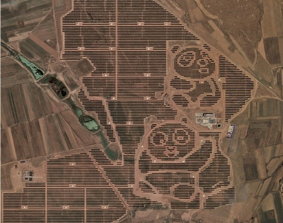 Chinese solar farm in the shape of a panda bear
