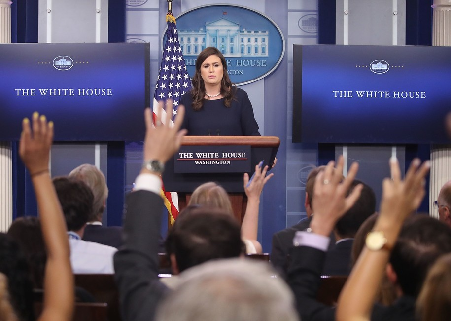 WASHINGTON, DC - JULY 26:  White House Press Secretary Sarah Huckabee Sanders speaks to the media during the daily press briefing at the White House on July 26, 2017 in Washington, DC.  (Photo by Mark Wilson/Getty Images)