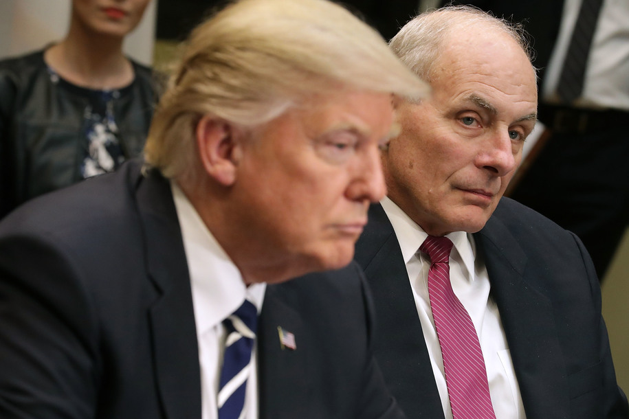 WASHINGTON, DC - JANUARY 31:  Homeland Security Secretary John Kelly listens as U.S. President Donald Trump delivers remarks at the beginning of a meeting with government cyber security experts in the Roosevelt Room at the White House January 31, 2017 in Washington, DC. Citing the hack of computers at the Democratic National Committee by Russia, Trump said that the private and public sectors must do more to prevent and protect against cyber attacks.  (Photo by Chip Somodevilla/Getty Images)