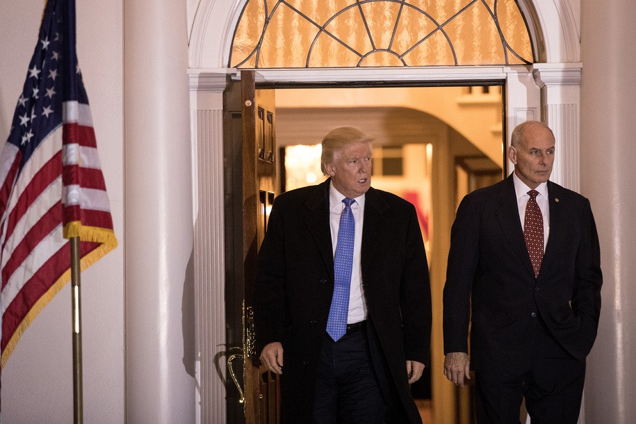 BEDMINSTER TOWNSHIP, NJ - NOVEMBER 20: (L to R) President-elect Donald Trump and U.S. Marine Corps General John Kelly emerge from the clubhouse following their meeting at Trump International Golf Club, November 20, 2016 in Bedminster Township, New Jersey. Trump and his transition team are in the process of filling cabinet and other high level positions for the new administration. (Photo by Drew Angerer/Getty Images)