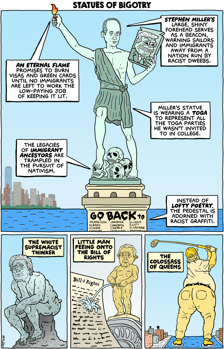 photo image Cartoon: Statues of bigotry