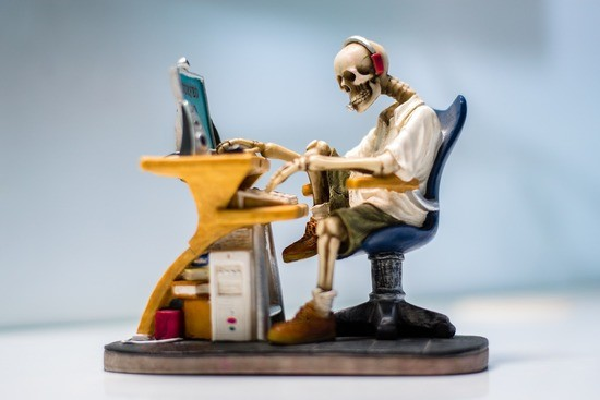 Internet. Cubicle worker. skeleton,