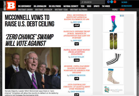 Top headlines from Breitbart taking aim at Mitch McConnell, such as