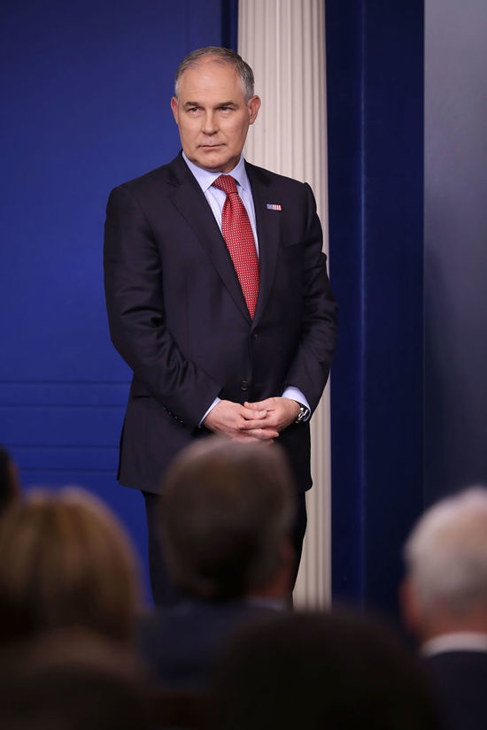 WASHINGTON, DC - JUNE 02:  Environmental Protection Agency Administrator Scott Pruitt arrives for a news briefing at the White House June 2, 2017 in Washington, DC. Pruitt faced a barrage of questions related to President Donald Trump's decision to withdraw the United States from the Paris climate agreement.  (Photo by Chip Somodevilla/Getty Images)
