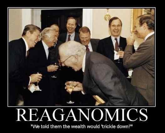 Image result for regan trickle down economics cartoon
