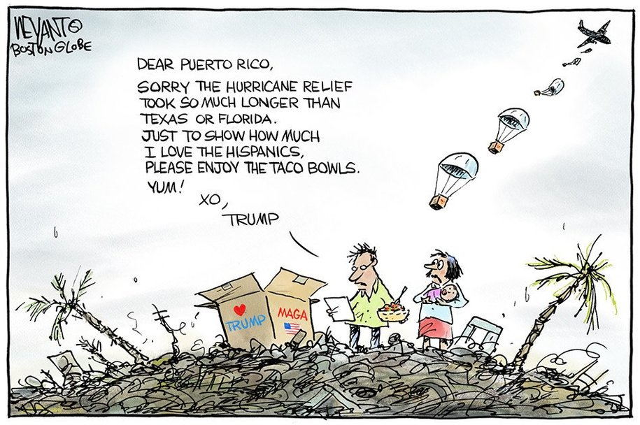 Trump and Puerto Rico, cartoon