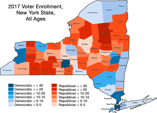 New York Political Map 2017 New York Political Party Enrollment Statistics Broken Down By