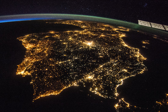 Spain and Portugal, taken from the International Space Station