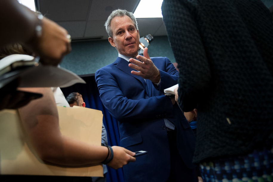 NEW YORK, NY - AUGUST 3: New York State Attorney General Eric Schneiderman speaks to reporters following a press conference to call for an end of Immigration and Customs Enforcement (ICE) raids in New York state courts, August 3, 2017 in the Brooklyn borough of New York City. During remarks, Attorney General Schneiderman stated that 'targeting immigrants at our courthouses undermines our criminal justice system and threatens public safety.' (Photo by Drew Angerer/Getty Images)