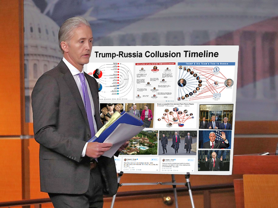 "Updated the posterboard behind Trey to show Trump-Russia instead of ""#Benghazi"" ..."