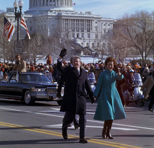 Jimmy and Rosilyn Carter, surprising the crowd by walking instead of riding in a limo -  https://www.archives.gov/publications/prologue/2000/winter/inaugurations