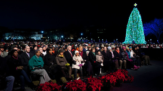 President Barack Obama and First Family listen to the program at the National Christmas Tree Lighting ceremony on the Ellipse in Washington, D.C., Dec. 9, 2010. (Official White House Photo by Pete Souza)