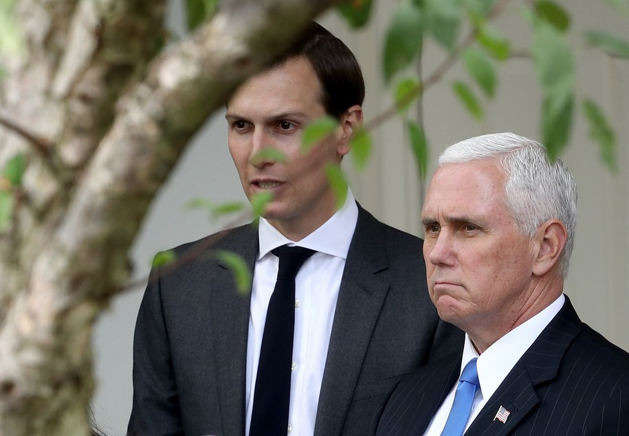 WASHINGTON, DC - OCTOBER 23:  Jared Kushner (L), senior advisor to U.S. President Donald Trump and U.S. Vice President Mike Pence (R) attend a joint statemen in the Rose Garden held by U.S. President Donald Trump and Singapore Prime Minister Lee Hsien Loong October 23, 2017 in Washington, DC. Trump and Lee are meeting ahead of Trump's first official visit to Asia to attend the APEC and ASEAN meetings during the first two weeks of November.  (Photo by Win McNamee/Getty Images)