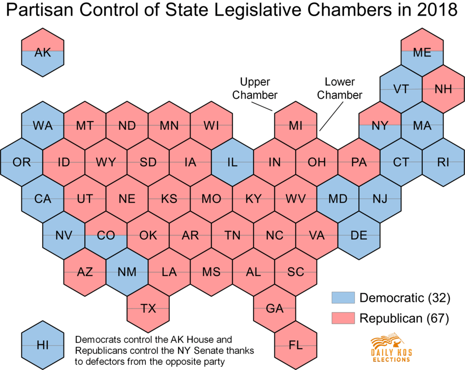 The Daily Kos Elections legislative open seat tracker shows Republicans are headed for the hills