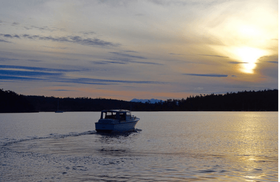 Sunset, boat, Pacific Northwest