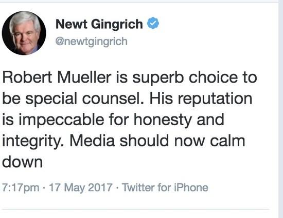 Newt Gingrich praises Robert Mueller