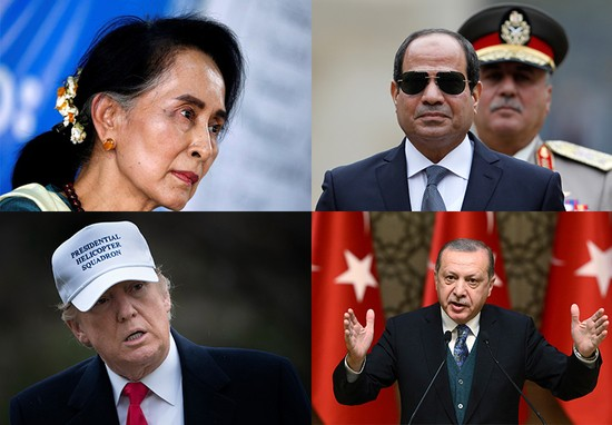 Aung San Suu Kyi , Abdel Fattah el-Sisi, Donald Trump, Recep Tayyip Erdoğan