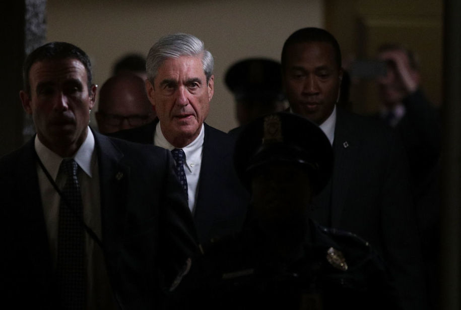 WASHINGTON, DC - JUNE 21:  Special counsel Robert Mueller (2nd L) leaves after a closed meeting with members of the Senate Judiciary Committee June 21, 2017 at the Capitol in Washington, DC. The committee meets with Mueller to discuss the firing of former FBI Director James Comey.  (Photo by Alex Wong/Getty Images)