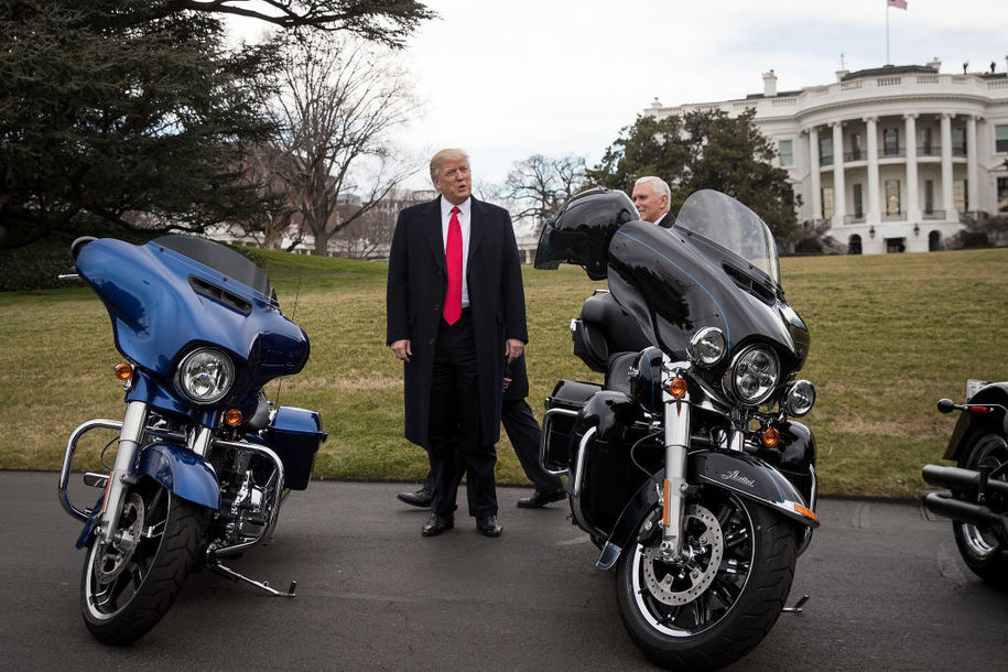 Donald Trump, an idiot, says Harley-Davidson lost sales last year for fighting with him this year