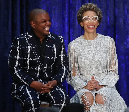 WASHINGTON, DC - FEBRUARY 12: Artist Kehinde Wiley, and Amy Sherald attend their official portrait unveiling of former U.S. President Barack Obama and first lady Michelle Obama during a ceremony at the Smithsonian's National Portrait Gallery, on February 12, 2018 in Washington, DC. The portraits were commissioned by the Gallery, for Kehinde Wiley to create President Obama's portrait, and Amy Sherald that of Michelle Obama.  (Photo by Mark Wilson/Getty Images)