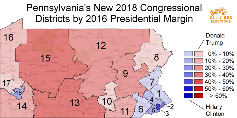 districts by margin with electoral map donald trump