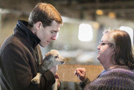 PA-18 Democratic candidate Conor Lamb holds a lamb at Ross Farm Fibers March 9, 2018