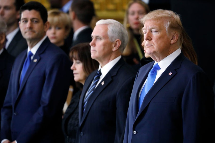 WASHINGTON, DC - FEBRUARY 28: (AFP-OUT) Speaker of the House Paul Ryan (R-WI), second lady Karen Pence, U.S. Vice President Mike Pence and President Donald Trump attend the cermonies as the late evangelist Billy Graham lies in repose at the U.S. Capitol, on February 28, 2018 in Washington, DC. Rev. Graham is being honored by Congress by lying in repose inside of the U.S. Capitol Rotunda for 24 hours. (Photo by Aaron Bernstein-Pool/Getty Images)