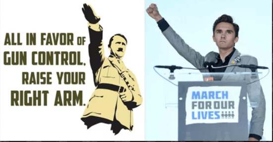 Rightwing conspiracy alleging David Hogg made a Nazi salute